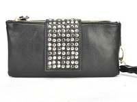 Free shipping 2014 new handbag trend rivets PU leather hand bag hit the color candy bag ladies clutch