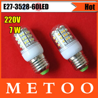 E27-3528-60LED Bedroom use,220V LED Light E27 7W 3528 SMD 60 LEDs Bulb Lamp Light E27 Free Shipping 4PCS/LOT
