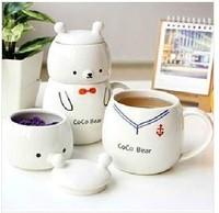 Cute cartoon animal bears 3-piece/set ceramic mugs tea cups keep-warm,tea-things teacup teapot,drink water milk cup 400ml