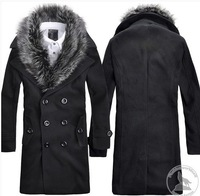 Men's Removable Fur Collar Double-breasted Wool warm high quality Coat Windbreaker hot sale