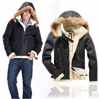 Men's pilot air force warm fur lining leather jacket  sheepskin free shipping