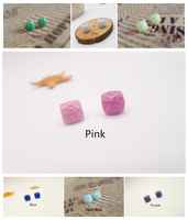 Stud Earrings Square Muti-Color  2014 Vintage Ceramic New Fashion Jewelry Accessories Wholesale Candy Color Charm For Women