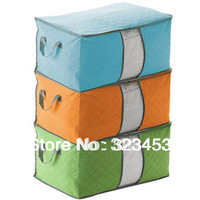 Free Shipping MultiColor bamboo charcoal Non-woven large quilt Storage bag clothing storage Organizer Orange Blue Green