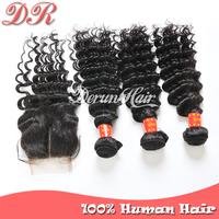 Peruvian Virgin Hair Extension,1pc Lace Closure And 3pcs Hair Bundles Deep Wave 6a Unprocessed Virgin Hair Remy Human Hair Weave