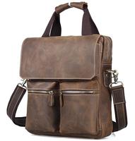 "Retro style men vertical leather messenger bag 13"" laptop brown handbag TIDING-1072"