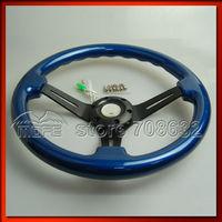 "SPECIAL OFFER Diameter: 350MM / 14"" Deep Dish: 53mm 3 Black Spokes Wood Steering Wheel For Racing Car Blue"