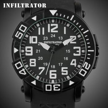 New INFANTRY Fashion Men's Black Sport Silicone Band 24 Hour Display Quartz Analog Wrist Watch