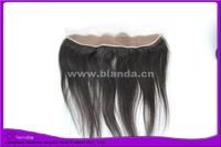 "Blanda hair Free shipping 13x2"" natural straight black color lace frontal with bleach knots baby hair lace closure frontals"