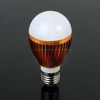 Wholesale (10 pieces/lot) LED Bulb Light power 3W E27 lamp holder golden White/Warm White AC85-265V Free Shipping