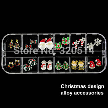 Free Shipping XMAS Gift 10Mixed Design 20pcs Christmas 3D Nail Art Decoration Nail Jewerly Products With Free Case MY-011