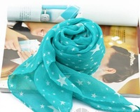 2013 star scarf blue women wholesale fashion lady scarf beach scarf hot sale scarves voile material