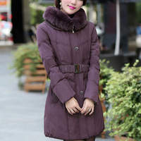Free Shipping 2013 Rabbit Fur Collar Women Down Coat Winter White Duck Down Plus Size Down Jacket 9902