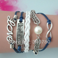 Hot 2014 trendy silver Love,Believe,Angel wings with White Pearl,Infinity Bracelets wrap leather PU wax cords bracelets BG660