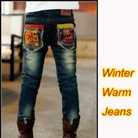 Free shipping children winter jeans 2013 boy's jeans kids thickening jeans soft warm kids boys pants  B086