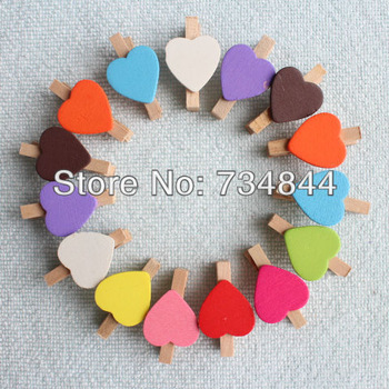 Free Shipping 50 X MINI Mix Colors Peach Heart Craft Wooden Clips Pegs Prefect for Party Event Wedding Decoration Accessories