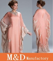 Free Shipping New 2013 Arabic Kaftan Long Bolero Shawl Wrap Jaceket Blink Chiffon Long Sleeve Lace Evening Dresses Dubai JQ3309