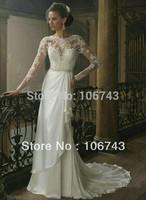 dresses free shipping 2015 noble long gowns Debutante bride long sleeve hot seller good maxi White lace princess wedding Dresses