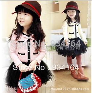 Big Promotion 2014 Hot Sale Child Dress Child Girl Clothing Long Sleeve Preppy Style Patchwork Girl Tutu Dress