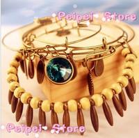 Min order $ 10 Fashion vintage  female multi-layer fashion personality crystal gem four leaf clover bracelet