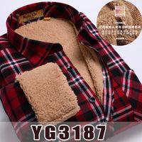 New 2014 fashion men's plaid shirt long-sleeve thermal shirts slim fit polo casual shirts men brand super quality berber fleece