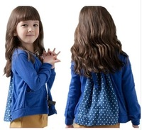 (100-140cm) 5pcs/lot korean style dot Ruched back for girls long sleeve top ,clothes children casual cardigan/outerwear