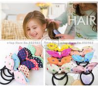 40pcs/lot Mix Colors Cute Print Cat Rabbit Ears Elastic Hair Bands Bunny Hairband Girls Headwear Accessories Free Shipping A0003