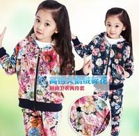 Medium-large girls clothing 2013 flower velvet female girl sports set fashion children Suit kids clothing girls autumn