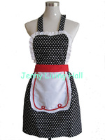 Promotional New Polka Dot Cotton Apron with Lace Ruffle/5pcs/lot
