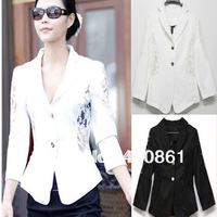 A222 free shipping 2013 women new fashion korea white black lace holowout long sleeve blazers coats ladies work jackets suits