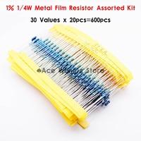 Total 600pcs 1% 1/4W Metal Film Resistor Assorted Kit 30 Values (10 Ohm ~1M Ohm) ,20pcs Each value