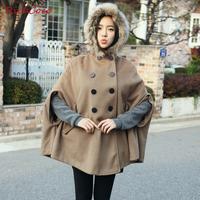 winter new 2013  raccoon fur fashion cloak wool outerwear wool coat thickening women's plus size female