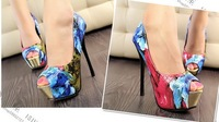 European and American fashion personality spell color flowers waterproof shoes sexy fish mouth single shoes