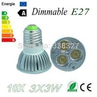 10X  Dimmable High Power  E27 3X3W 9W LED Bulb Downlight Lamp Spotlight LED Lighting Free shipping!