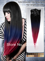 24 inches Black-Blue-Red three tone ombre color hair clip on 120g Brazilian Human Virgin hair extensions 8pc/set Free Shipping
