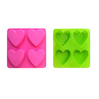 Very cute romantic 4 hearts shaped chocolate molds, love special gifts, cakes ice cream mold,free shipping