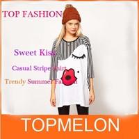 New Spring 2014 Ladies' Summer Fashion Trendy Cute Print Loose Stripe Raglan Sleeve round neck T-shirt Fashion Tops for Women
