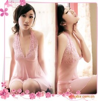 Sexy sleepwear women 2013NEW Sexy Lingerie Fashion Girl's dresses sexy lingerie halter pink transparent chiffon halter