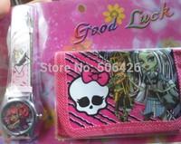 Free shipping 1pcs Monster High cartoon wallet New girl's watches and kids lovely children purse girl Wristwatch