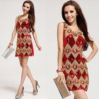 Free Shipping 2014 new Europe dress for evening, Lucky ladies red tank dress paillette gold belt slim hip women dress LM6018