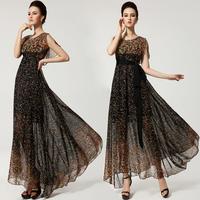 Free Shipping Europe glass flower long dress women, fashion expansion bottom  summer chiffon long women dress