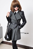 Big size XL XXL XXXL Winter women New 2014 Fashion Casual long leather Sleeve Wool & Blends thick outerwears & Coats Women