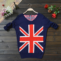 Women's 2013 new brand fashion national flag Crochet V neck T-shirt Knit plus size Long Sleeve christmas gift for free shipping