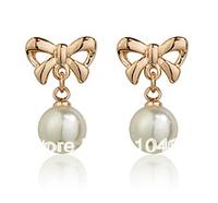 Red apple butterfly dangle pearl earrings gold,120628-17