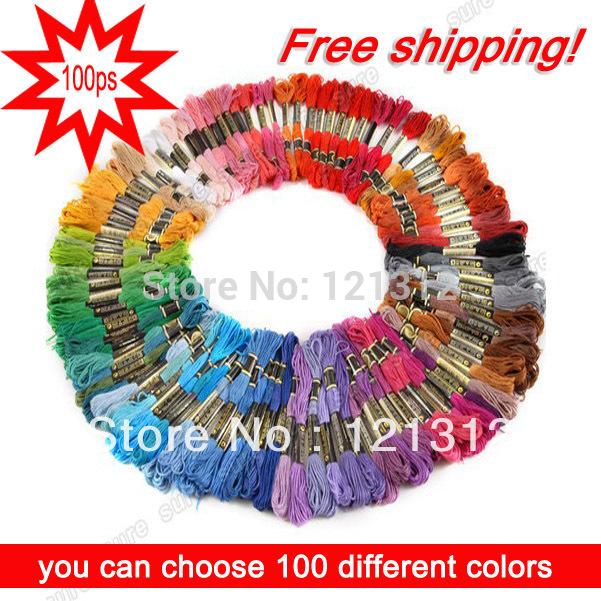 Free shipping! 100 pieces Similar DMC cross threads / cross stitch / cross stitch embroidery thread,,(China (Mainland))