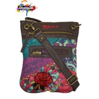 Free shipping Desigual 2014 personalized print PU patchwork bag messenger bag