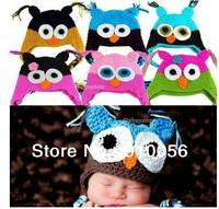 Retail Newborn  Infant Baby Boys Girls Knit Wool Owl Beanie Hat Kids Photography Props Costume Handmade Children Animal Cap