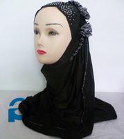 muslim amira hijab scarf lycra scarf hijab 1pc hijab with flower soft shawl 10pcs/lot free ship