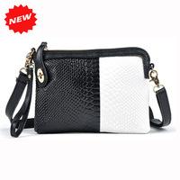 Second Layer Genuine Leather Women Day Clutches Bag Crocodile Pattern Wristlet+Shoulder+Messenger Bags,2 Color Tone,ANS-SL-73