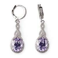 Fashion Trendy Light purple Cubic Zirconia  Micro inlays jewelry 925 Silver  Earrings R3153