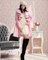 OISK women pink trench long coat wool blend jacket ruffle style one button coats je137